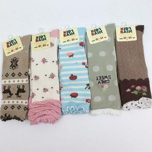 5 Pr KID'S BASIC Girl Knee Socks Sz 19-23 cm Asstd